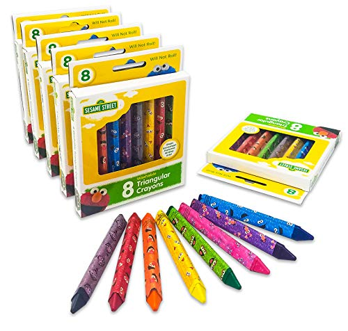 Leap Year Sesame Street 6-Pack of 8 Count Washable Triangular Crayons | Starter Crayon for Toddlers and Kids | Will Not Roll | Assorted Colors | Great for Classrooms | 48 Crayons Total