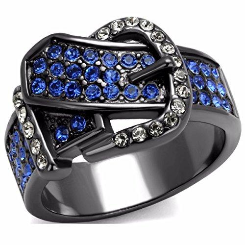 Lanyjewelry - Anillo de Acero Inoxidable con Hebilla para cinturón, Color Azul