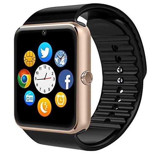 Shop-STORY - Reloj inteligente Bluetooth Herren para hombre y mujer, correa de plástico, esfera de acero, compatible con Android iPhone, oro rosa