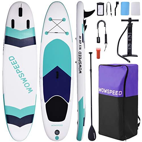OneV FT Tabla Paddle Surf Hinchable, 320x84x15cm 135kg Paddle Surf, Sup Paddle Tabla Surf,con Mochila Correa Remo y Bomba de Mano, Carga hasta 130kg, Rayas Color