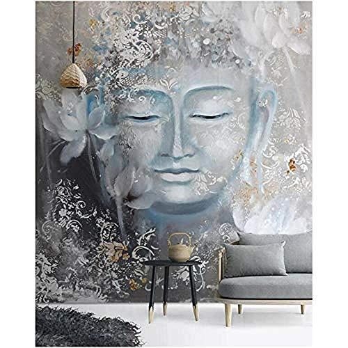 Benutzerdefinierte Tapete Wandbild Nostalgische Buddha Veranda Home Decoration Gemälde HighGrade wasserdichtes Material 300 cm x 210 cm (118,1 x 82,7 Zoll)