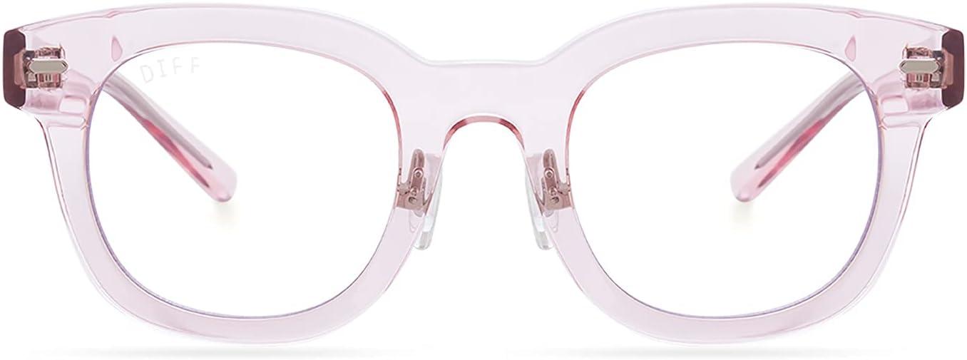 DIFF Eyewear - Summer - Designer Square UV400 Blue Light Blocking Glasses for Women - Light Pink Crystal + Clear