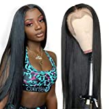 Straight Lace Front Wigs Human Hair T Shape Middle Part Lace Frontal Wigs pre plucked with baby hair Glueless Brazilian straight human hair wigs lace front wigs for black women ....