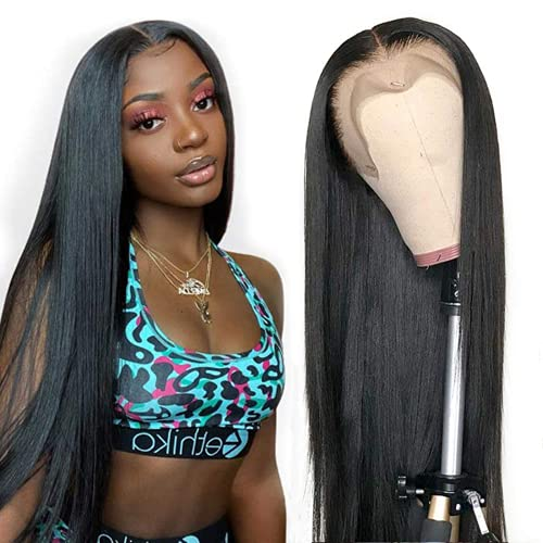 Straight Lace Front Wigs Human Hair T Shape Middle Part Lace Frontal Wigs pre plucked with baby hair Glueless Brazilian straight human hair wigs lace front wigs for black women ..
