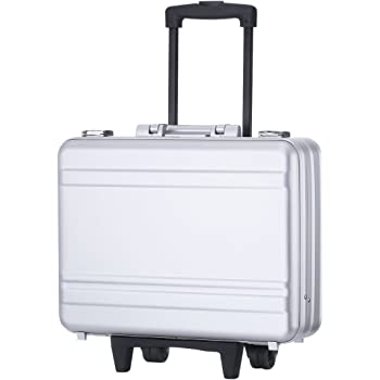 """Rolling 17"""" Laptop Briefcase on Wheels Attache Lawyers Case Legal Size Metal Trolley Portable Tool Chest with Foam (18.1X13.8X6.1 inch, Silver)"""