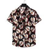 T-Shirt Homme Été Mode Basiques Homme Décontractées Chemises Unique Impression Manches Courtes Sweat-Shirt Patte Boutonnage Plage Shirt Casual Vacances Surf Shirt I-07 XL