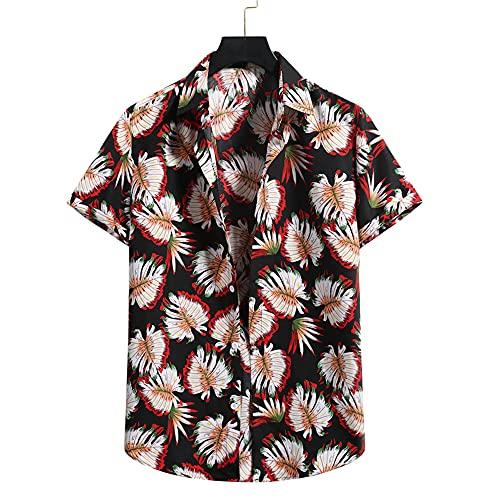 T-Shirt Hombre Verano Moda Estampada Hombre Ocio Shirt Transpirable Cuello Kent Tapeta con Botones Hombre Shirt Manga Corta Moderna Tendencia Hawaii Hombre Shirt Playa I-07 XL