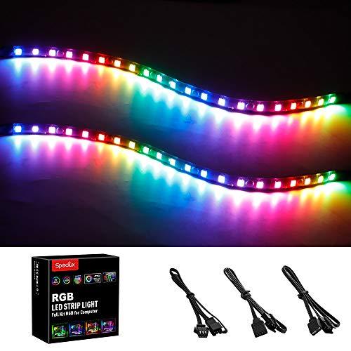 Addressable PC LED Strip, Speclux Rainbow Magnetic RGB Strip PC Case Lighting, 2PCS Computer LED...