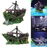TSLBW Barca per Decorazione Acquario Nave Sunken Nave per Acquario Decorazioni Barca a Vela per Decorazione Acquario Ornamento per Acquario in Resina Relitto di Una Nave Pirata per Acquario Piccoli