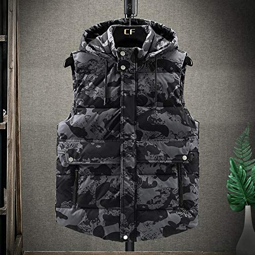 LYLY Vest Women 5XL Winter Vest Warm Hat Detachable Men Vest Sleeveless Casual Camouflage Jacket Coat for Men Unisex Waistcoat Vest Warm (Color : Grey CAI, Size : XXXL)