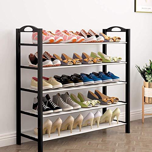 Accesorios de Material de Oficina Zapatero de 5 Niveles Estantes de Almacenamiento de Metal para hasta 16 Pares de Zapatos para la Sala de Estar Pasillo Pasillo y Armario 64 X 25x 80 cm Negro