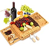 Cheese Board and Knife Set: Vestaware Bamboo Charcuterie Platter and Cheese Servers with 2 Slide-Out Drawers for Wine, Crackers, Brie and Meat - Perfect Gift for Housewarming, Thanksgiving, Birthday