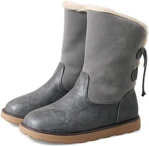 Fuxitoggo Stiefel de Nieve para damen Stiefel de Invierno de Cuero Stiefel cálidas Antideslizantes, schuhe Planos con Suela antiabrasión, Albaricoque, 38 (Farbe   grau, tamaño   39)