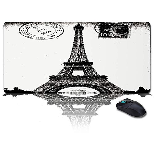 Large Mouse Pad Desk Mat 35x15 in Oversized RGB Soft Gaming Mousepad, Custom Vintage Mats, Paris Eiffel Tower Black White XXL Cool Keyboard Pad for Gamer, Office & Home