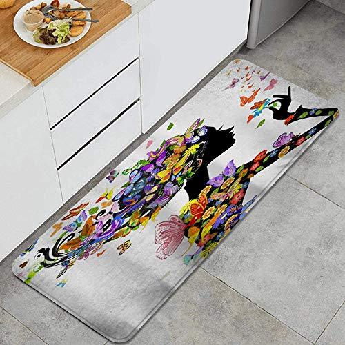 VAMIX Tappeto da Cucina,Farfalla colorata fata ragazza godendo fiori estate fantasia,antiscivolo passatoia da cucina antiscivolo zerbino tappetino per il bagno