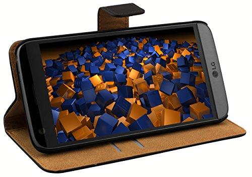 mumbi Echt Leder Bookstyle Case kompatibel mit LG G5 Hülle Leder Tasche Case Wallet, schwarz