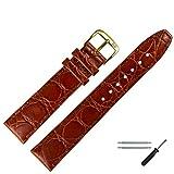 MARBURGER Uhrenarmband 18mm Leder Braun Kroko - Werkzeug Montage Set 5291832000220