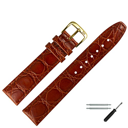 MARBURGER Uhrenarmband 16mm Leder Braun Kroko - Werkzeug Montage Set 5291632000220