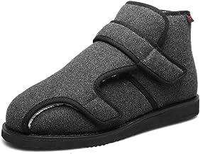 Verstelbare Oedeem Schoenen Dames Extra Breed,Halfhoge dikke katoenen schoenen, verbrede klittenband diabetische schoenen-...