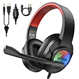 bopmen T8 Gaming Headset - On Ear Headphones with RGB Light, Headset for PS4 with Mic, Wired...