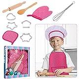 RosewineC Set de cocina para niños, 11 piezas, juego de chef y horneado, para niños, chef, juego de disfraces, juego de rol, delantal con gorro de cocinero, manopla y cortador (rosa)