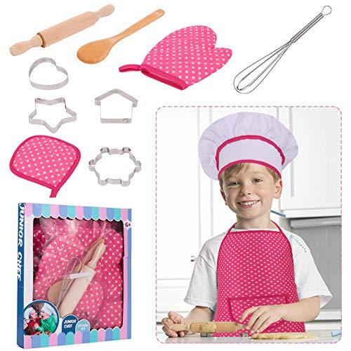 RosewineC Set de cocina para nios, 11 piezas, juego de chef y horneado, para nios, chef, juego de disfraces, juego de rol, delantal con gorro de cocinero, manopla y cortador (rosa)