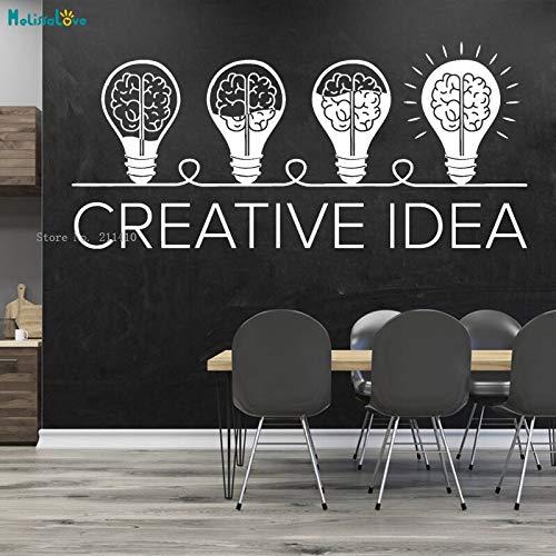 ASFGA Einzigartige Glühbirne Kombination Vinyl Wandtattoo Schriftzug kreative Büro Besprechungsraum Computerraum Spielzimmer Idee Gehirn Glühbirne Aufkleber Kunst Wandbild 92x42cm