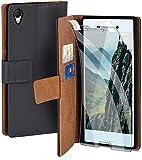 moex Handyhülle für Sony Xperia M4 Aqua - Hülle mit Kartenfach, Geldfach & Ständer, Klapphülle, PU Leder Book Hülle & Schutzfolie - Dunkelgrau
