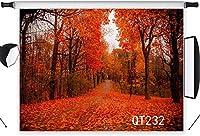写真撮影のための の風景の背景7x5ftポリエステル生地の森は赤い葉でいっぱいです結婚披露宴の肖像画のための秋の写真の背景写真ブースの背景