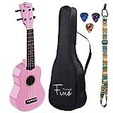 FINO Soprano Ukulele Pack-21 inch Beginner Ukulele w/Gig Bag Rainbow Ukulele Kit for Kids Small Guitar for kids 5-8 Pink Ukulele