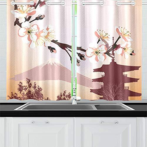 JOCHUAN Símbolos japoneses Cortinas de la Cocina Cortinas de la Ventana Niveles para la cafetería Baño Lavandería Sala de Estar Dormitorio 26 * 39 Pulgadas 2 Piezas