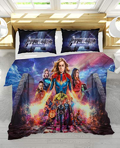 NIU 3D Marvel Iron Man Duvet Cover Set Amine Catoon Style 3 Pieces Bedding Set-100% Polyester Fiber Bed Cover Best Gift Halloween Christmas (Color : B, Size : AU king:220x240cm)
