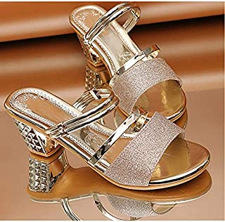 Women Bling Woman High Sandals Summer Peep Toe Square Heels Casual Ladies Shoes Women's Heels Female Slip On Footwear Slippers Elegant beautiful slippers (Color : Gold, Shoe Size : 9)