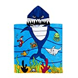 Exclusivo Mezcla 100% Cotton Kids Baby Shark Hooded Poncho Bath/Beach/Pool Towel, 24' x 47'
