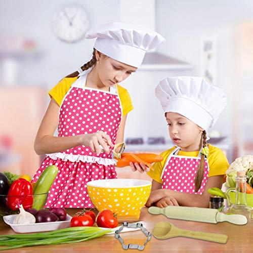 likeitwell Conjunto De Cocina De Nios con Utensilios Delantales Chef Poliester Impermeable Ajustables Disfraz De Cocinero De NiosResistente Al Calor Fcil De Limpiar Way