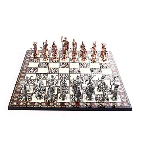 GiftHome Historical - Juego de ajedrez de metal de cobre antiguo para adultos, piezas hechas a mano y diseño de mosaico, tablero de ajedrez de madera King 4.3 inc
