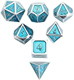 DND Polyhedral Metal Game Dice Ocean Blue 7pc Set for Dungeons and Dragons DND RPG MTG Table Games D&D Pathfinder Shadowrun and Math Teaching