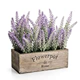 Velener Artificial Flower Potted Lavender Plant for Home Decor (Wooden Tray, 9' Long)