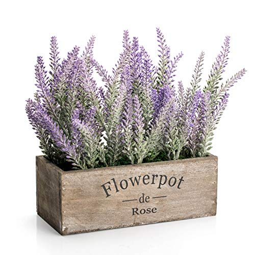 Velener Artificial Flower Potted Lavender Plant for Home Decor (Wooden Tray, 9