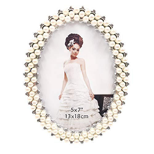 Abbie Home Wedding Photo Frame - 5x7 Inch Pearls Decorated Picture Holder Display Anniversary Present for Family Newlyweds (Silver)