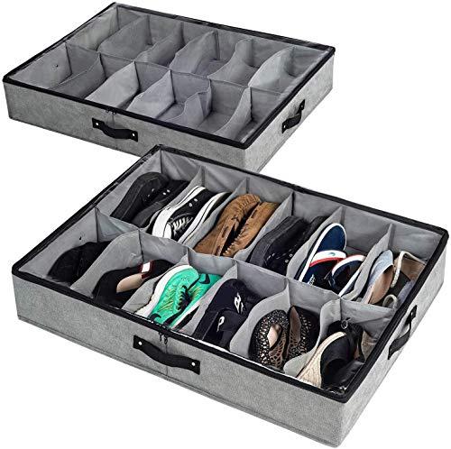 Bajo almacenamiento de zapatos de cama, organizador de zapatos debajo de la cama con tapa superior clara y lados resistentes, un juego de 2, encaja con hasta 24 pares de almacenamiento y organización