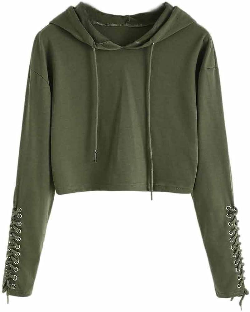 Zulmaliu Girl Sweatshirt, Fashion Lace Up Sweater Solid Long Sleeve Crop Top Hoodies (Army Green