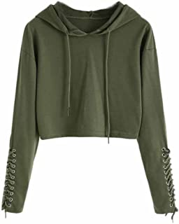 ANJUNIE tops Women Hoodie Sweatshirt, Casual Jumper Sweater Crop Top Coat Sports Pullover