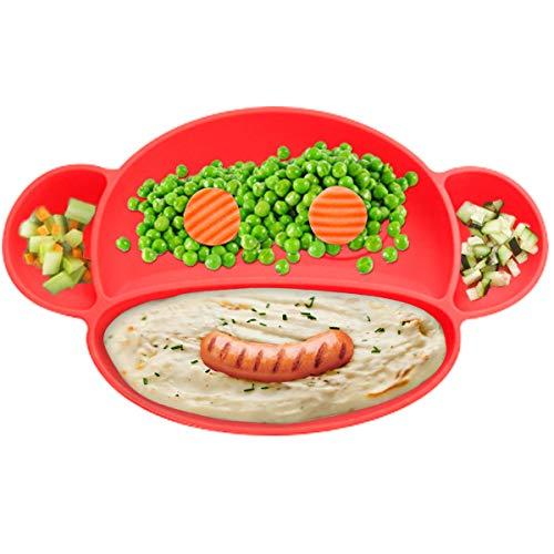 O³ Babyteller Saugnapf // 1 Teller + 3 Löffel + 3 Gabeln // Silikonteller Set für Mädchen oder Jungen // Anti rutsch Kinderteller (Rot)