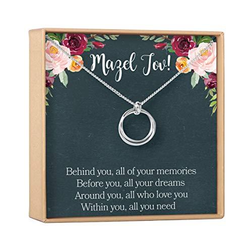 Dear Ava Bat Mitzvah Gift Neckalce: Jewish Jewelry, Mazel Tov, 2 Linked Circles (silver-plated-brass, NA)