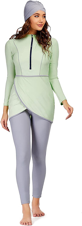Women 2 Pieces Muslim Swimwear Full Coverage Islamic Burkini Long Sleeve Small Fresh Swimsuits for Water Sports
