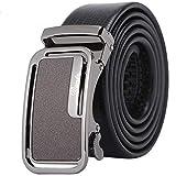 Saoye Fashion Cinturón De Cuero Real Para Hombres Cinturón De Hebilla Automático Fácil Diapositiva De Cinturón De Cuero Sin Holgura Caja De Regalo Embalaje (Color : Schwarz, Size : L/120cm)
