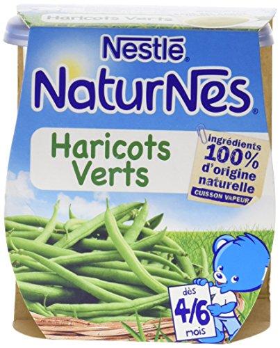 Nestl Bb Naturnes Haricots Verts ds 4/6 mois 2 x 130 g- Lot de 6