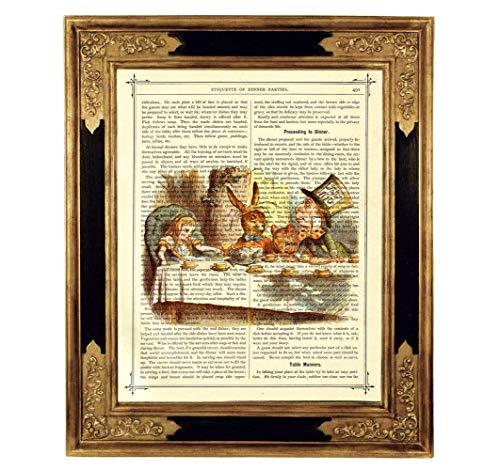 Alice im Wunderland Teeparty Verrückter Hutmacher Kunstdruck auf antiker Buchseite Geschenk Geburtstag Steampunk Poster Bild ungerahmt