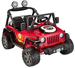 Battery-powered ride-on vehicle with a removable pretend grill, 5 pretend food play pieces, and a flying disc for outdoor play Realistic Jeep Wrangler styling with pretend radio that plays fun grilling and driving sounds Vehicle drives on hard surfac...